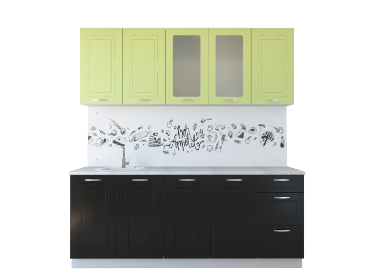 Кухня Оля МДФ, фисташка глянец-черный глянец (2,0)