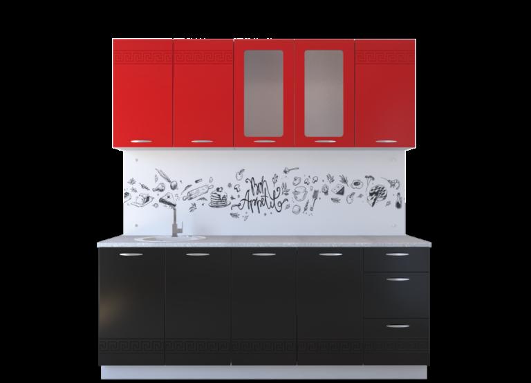 Кухня Оля МДФ, красный глянец-черный глянец (2,0)