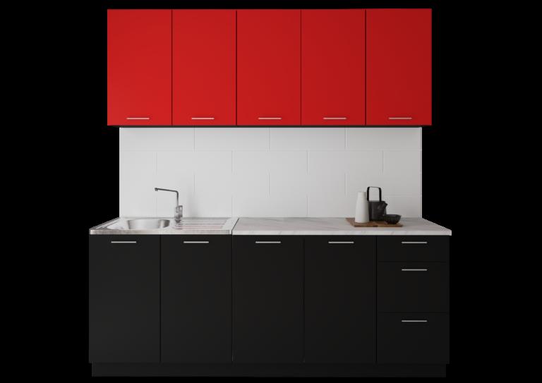 Оля ДСП, красный-черный, 2.0 м